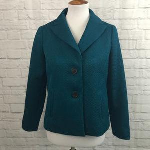 Talbots Teal Textured Blazer Jacket size 6p